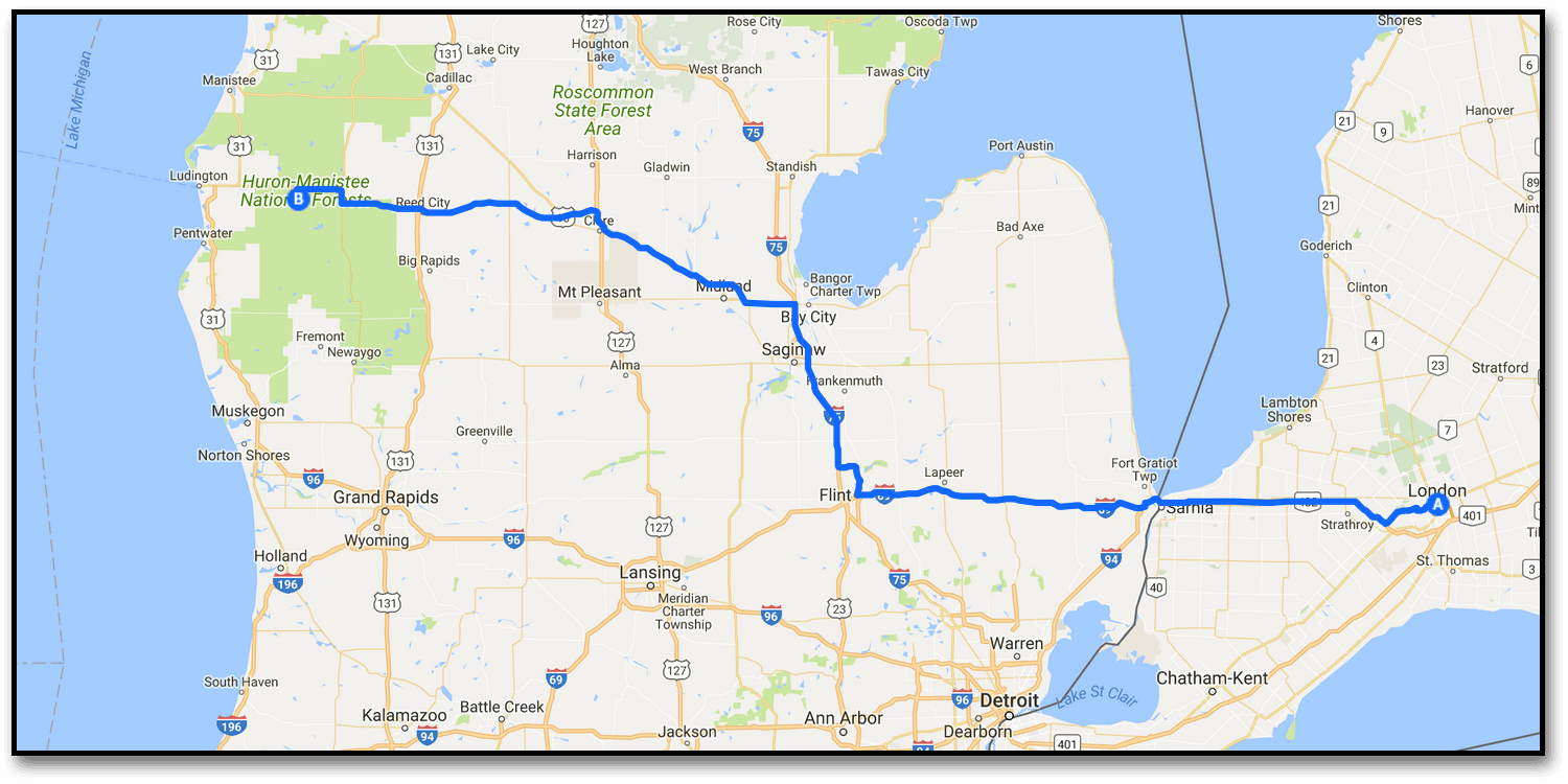 Day 1 – London to Ludington (481km)