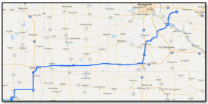 Day 3 – Eau Galle to Cottonwood Campground, Yankton SD (603 km)
